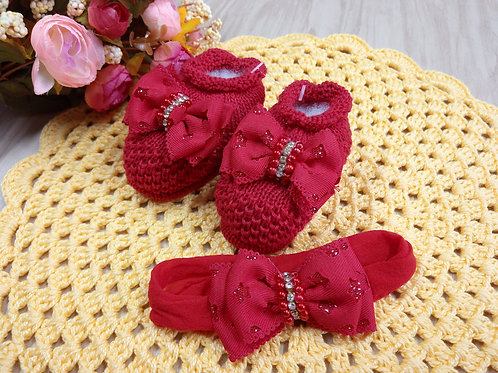 Kit Sapatinho de bebê em tricô com tiara