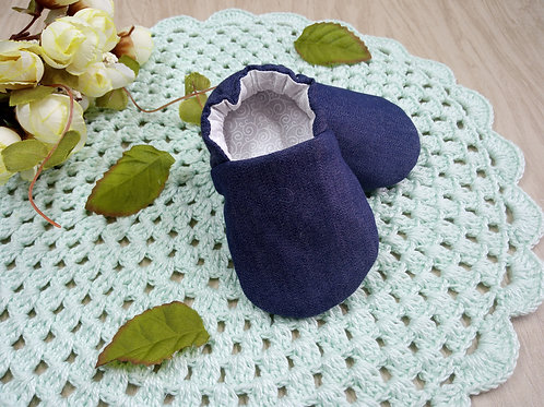 Sapatinho de Bebê Pantufa Jeans