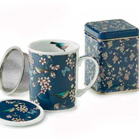 Porcelain tea mug with stainless steel strainer & tea tin