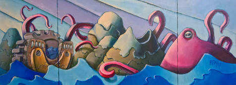 Octopus Island (open) triptych