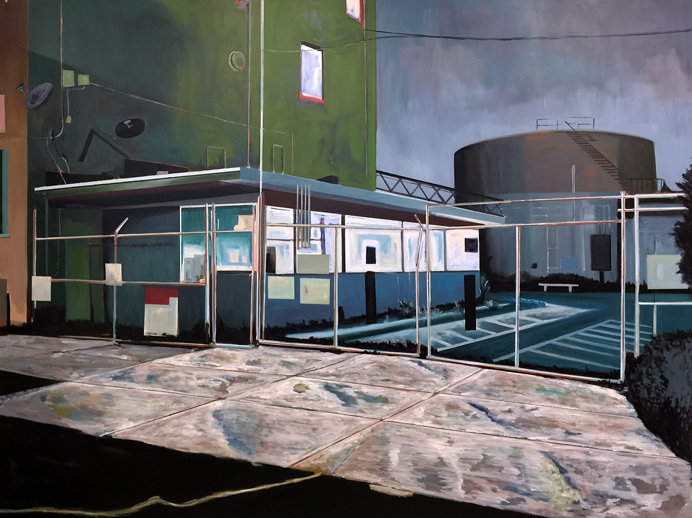 'Gas Facility' Oil on canvas, 74 x 98 inches.