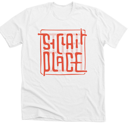 Cream Unisex T-Shirt with Orange Print