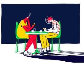 Conversation en terrasse