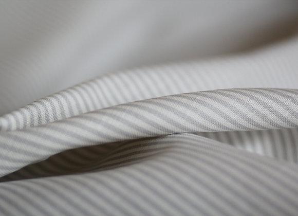 Dove Grey Dotty & Stripy on White Linen