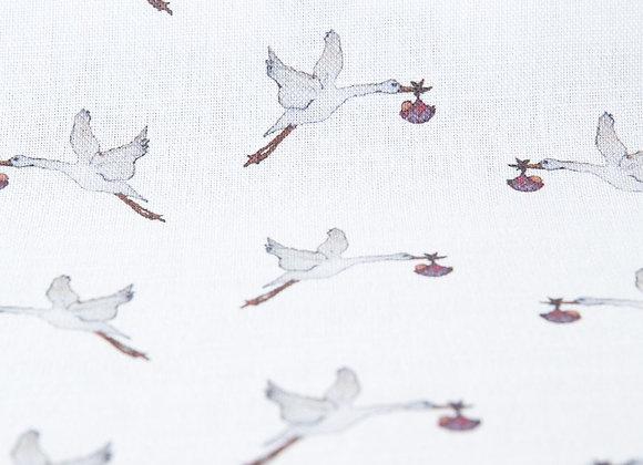 Stork on White Linen