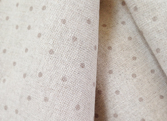 Biscuit Brown Dotty & Stripy on Natural Linen