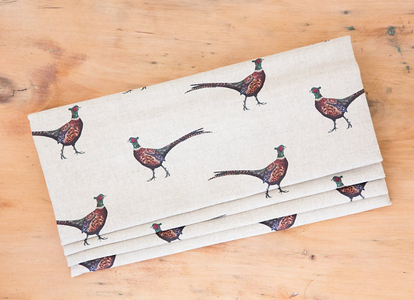 Pheasant Large on Natural linen