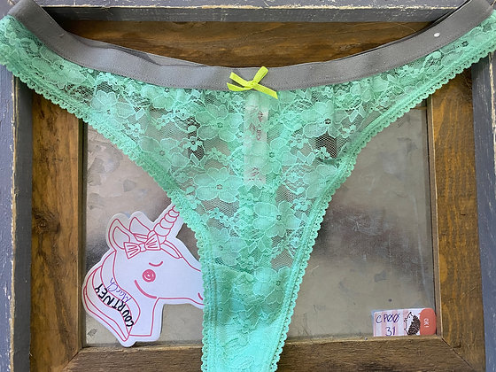 Pretty Green Lace Thong with Yellow Bow