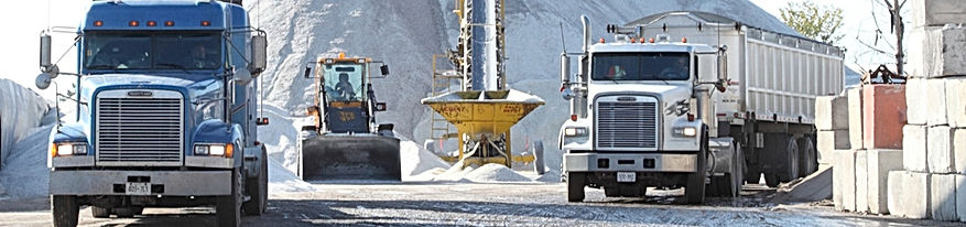 The Salt Depot - About Us.  Four Divisions: De-Icing, Haulage, Sweeper and Water Truck Service, Concrete Blocks