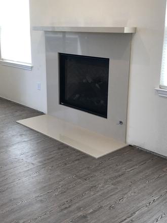 Quartz Mantel and Fireplace