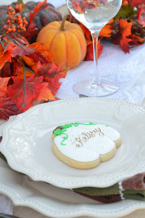 Pumpkin Place Card Custom Cookies