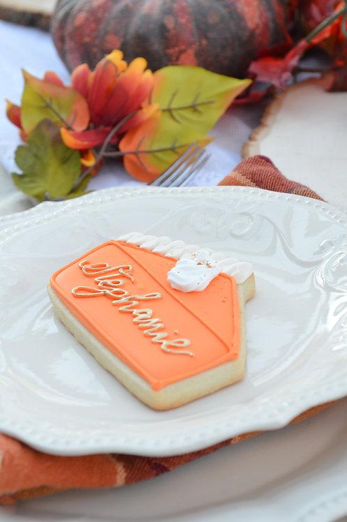 Pumpkin Pie Place Card Custom Cookie