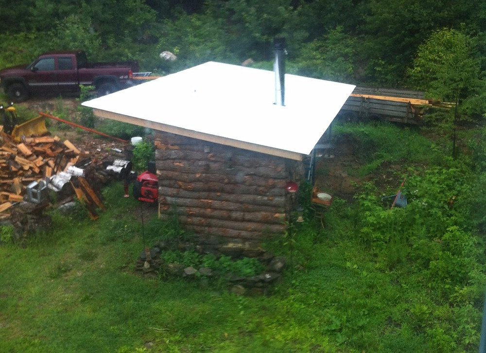 outdoor wood stove shed