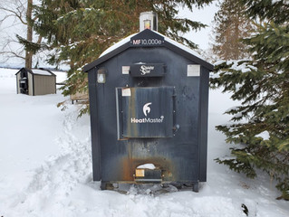 (SOLD) Used HeatMaster SS MF10,000e Outdoor Wood Furnace