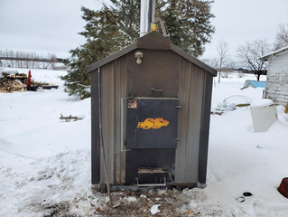 (Sold) Large HeatMaster Outdoor Wood Stove For Sale - Used
