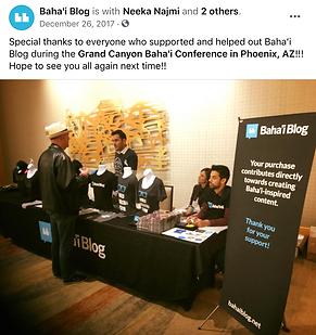 Baha'i Blog Selling Shirts at Conference
