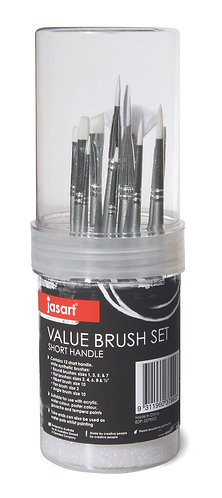 Jasart Value Brush Set - 12 assorted brushes in a tube