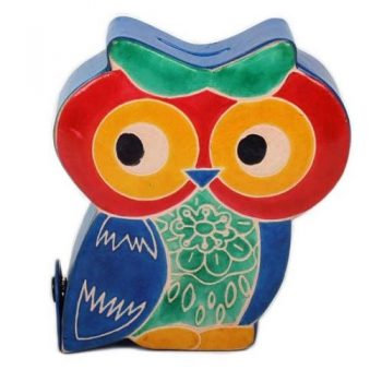 Owl Leather Money Box with snap closure