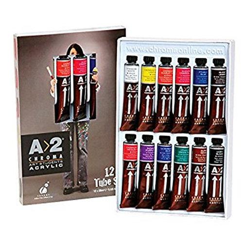 Chroma - 12 Tube Acrylic Paint Set - 20ml tubes