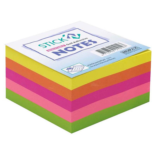 Stick'n Note 7.6x7.6cm neon sticky note cube - 400 sheets