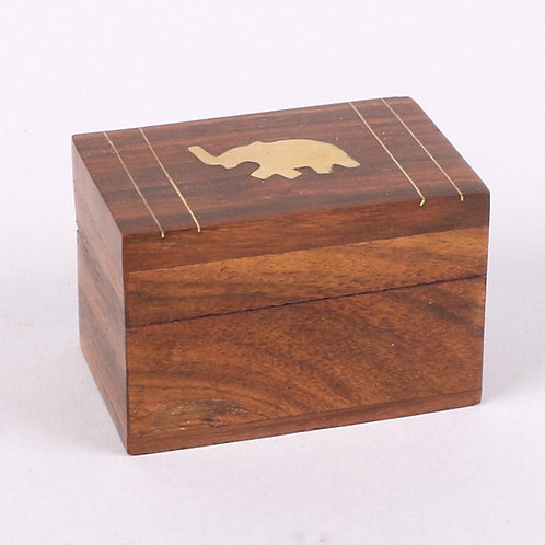 Tiny Little Wooden Box With Elephant Design