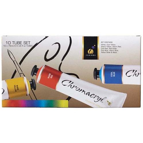 Chromacryl Acrylic Paint Set 10 x 75ml Tubes