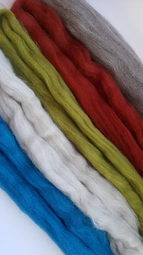 Ashford Corriedale Carded Wool - Earth Pack