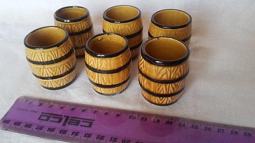 Set of 6 Tiny Retro Ceramic Barrels