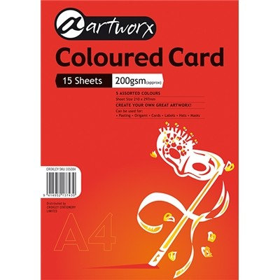 Coloured Card - Pack of 15 assorted colour sheets