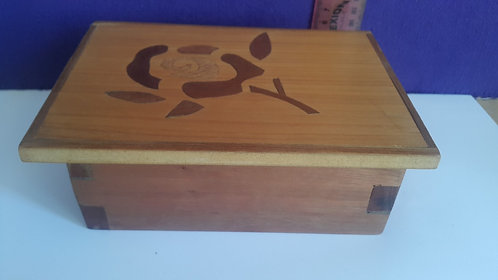 Chunky Wooden Box With Decorative Lid