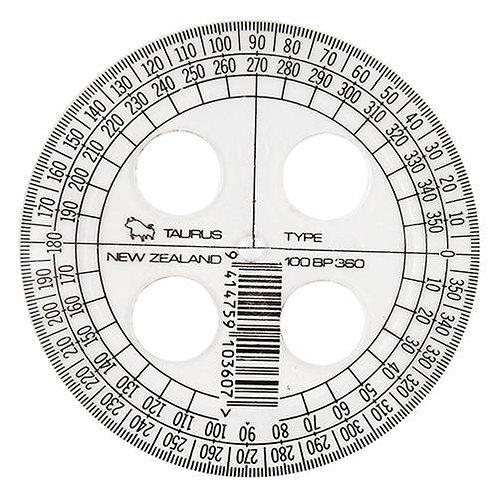 Taurus 360 Clear Protractor - 10cm