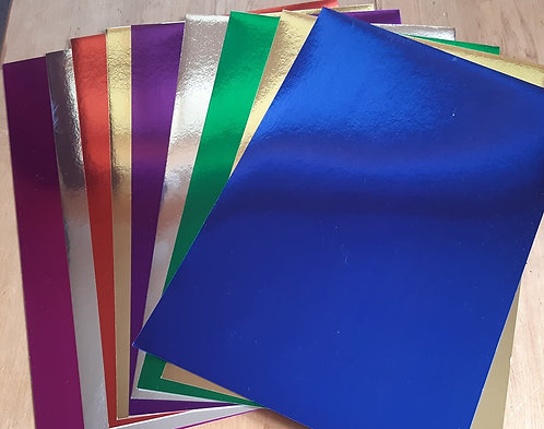 A4 Metallic Board - pack of 10 assorted colours