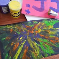 Painting at home, with children.