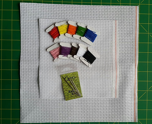 Cross-Stitch Kit with Floss, Needles and Fabric