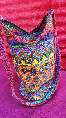 Multi-coloured crocheted Handmade Guatelmalan Bucket Bag #7