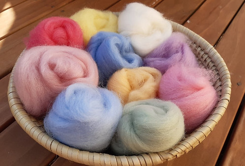 Carded Wool - Pastels or Brights - in basket