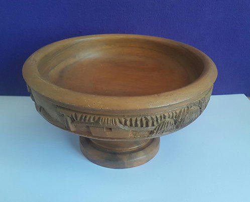 Large Wooden Bowl on a Stand
