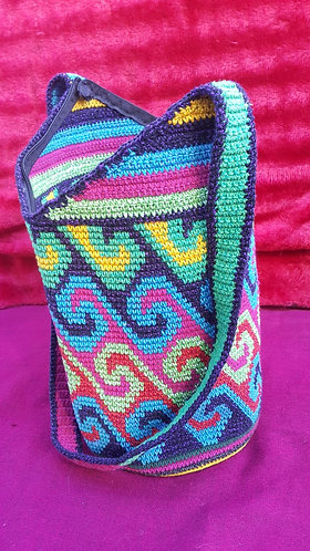 Multi-coloured Handmade Guatemalan Bucket Bag #9