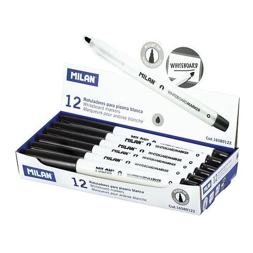 Milan Whiteboard Marker - Black - Bullet Tip - Pack of 2