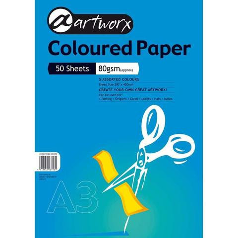 Coloured Paper - Pack of 100 Assorted colour sheets