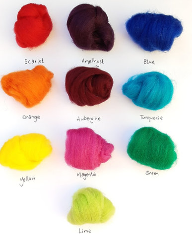 Carded Wool - Approx 10 gram pieces - 20 Colours to choose