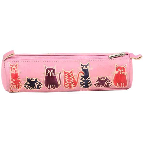 Leather Cat Design Pencil Case