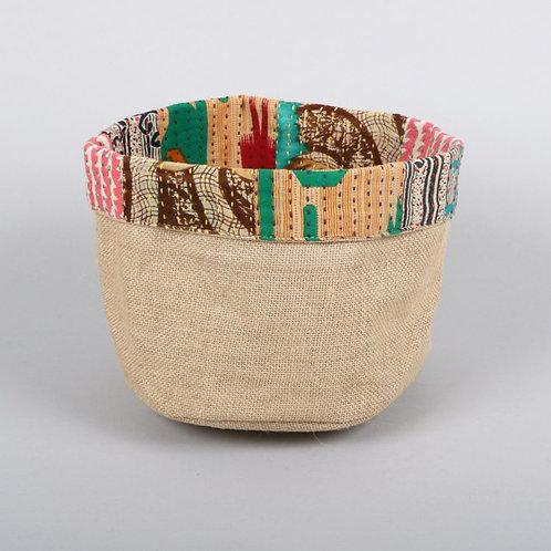 Reversible Sari Trim Basket - Medium