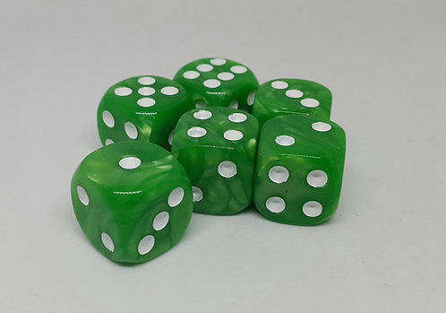 Pack of 6 pearly dice - 4 colours to choose from