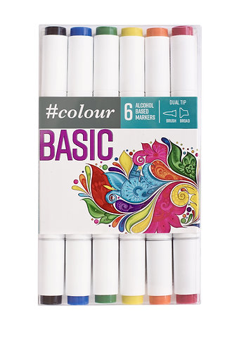 #Colour Alcohol Markers - Pack of 6 - Pastel or Basic
