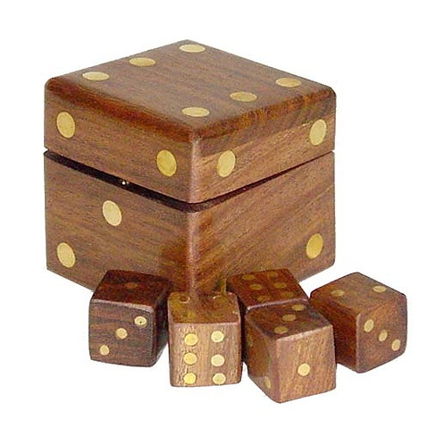 Trade Aid Wooden Dice Box with Five Dice