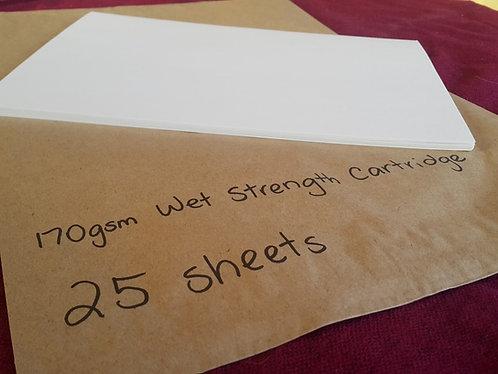 165 gsm Wet Strength Cartridge Paper - Pkt 25 A4 Sheets