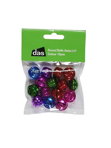 Coloured bells for crafts - round and triangular