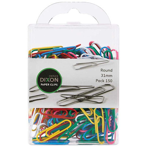 Dixon Round Coloured Paperclips - 31mm