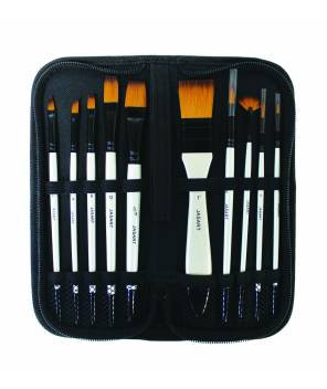 Jasart Value Brush Set - 10 assorted brushes in storage wallet